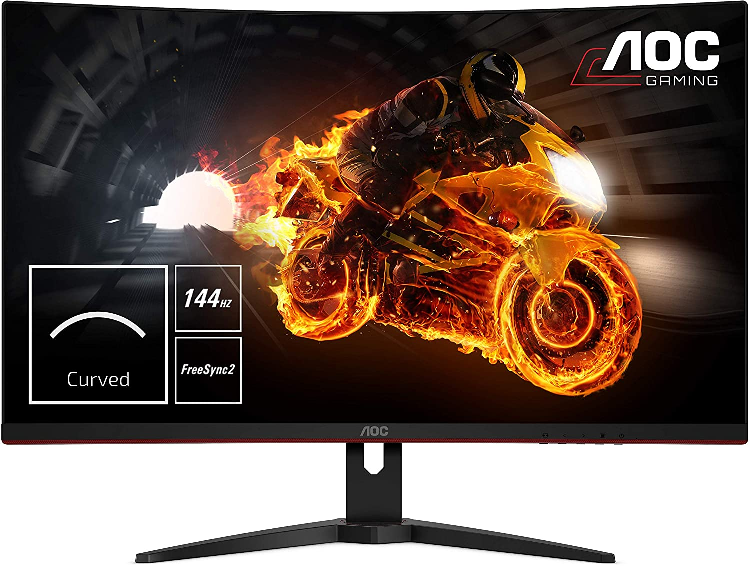 "AOC CQ32G1 31.5"" Curved Frameless Gaming Monitor, Quad HD 2560x1440, VA panel, 4 ms Response Time, MPRT, 144Hz, FreeSync, DisplayPort/HDMI/VGA, VESA, Black"