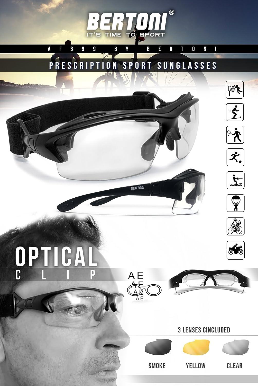 cf355b6b0fa3 Bertoni Prescription Sport Sunglasses Goggles – 3 Interchangeable Antifog  Lenses - Sport Glasses with Optical Clip for Pescription Lenses -  Interchangeable ...