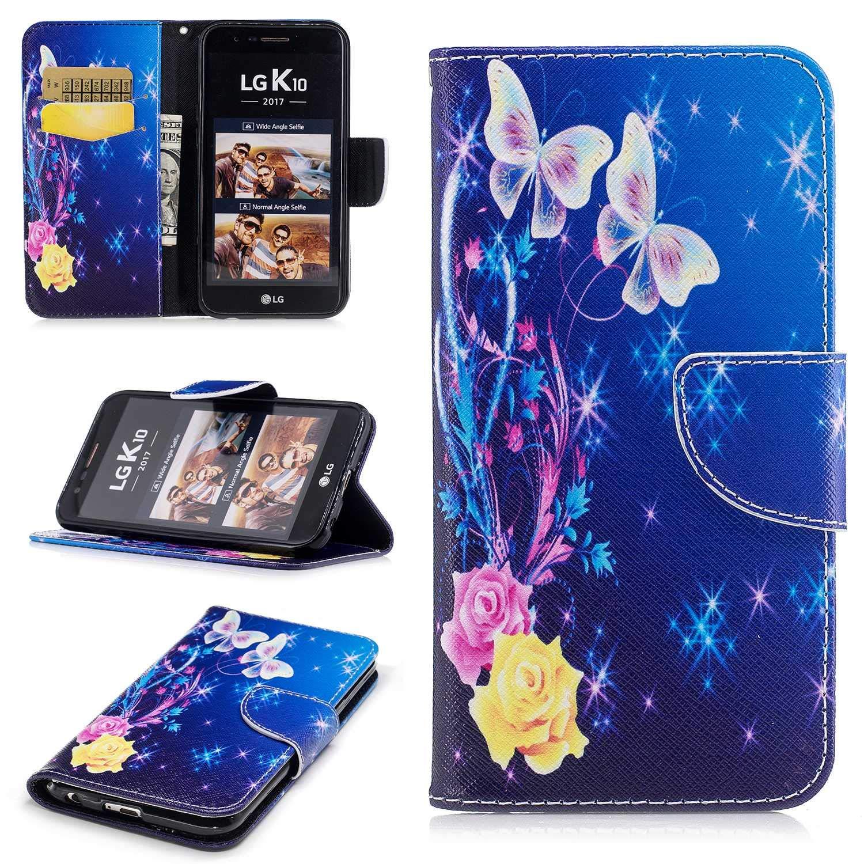 HCUI Compatible avec LG K10 2017 Coque Cuir Étui Wallet Housse, Portefeuille de Protection Coque avec Fonction Support Magnétique Pochette Antichoc Coque pour LG K10 2017 - Fleur bleu.