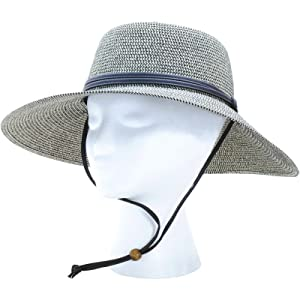 Sloggers Women'sWide Brim Braided Sun Hat with Wind Lanyard - Sage - UPF 50+Maximum Sun Protection, Style 442SG