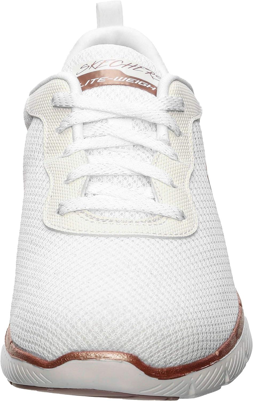 Skechers Flex Appeal 3.0, Baskets Femme Blanc/rouge foncé