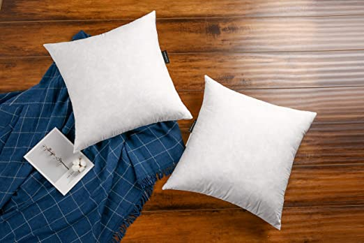 Ja Comforts 22 22 Decorative Grey Goose Down Feather Throw Pillow Inserts Set Of 2 100 Cotton Cover Square Machine Wash White Kitchen Dining Amazon Com