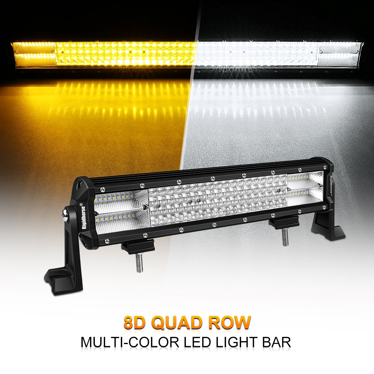 Amazon.com: LED Light Bar, Rigidhorse 4 Row 15inch 324w Multi-Color Light  Bar Spot light & Flood light Combo Off Road Light with Mounting Brackets  Set, ...