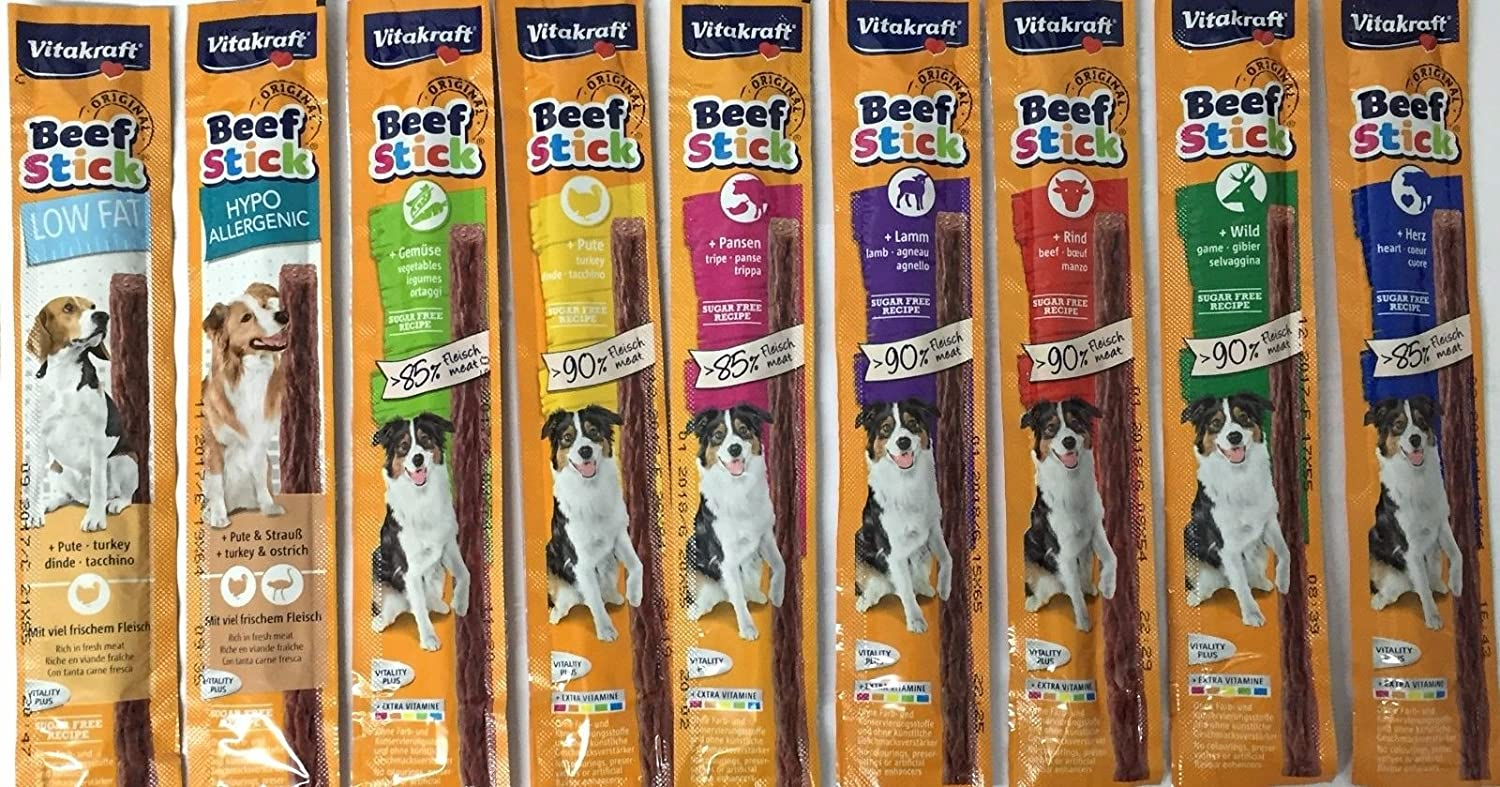 10 STICK VARIETY PACK VITAKRAFT BEEF STICKS DOG TREATS BURTON DENE