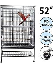 D4P Display4top Grand Fer Noir Forgé Cage Oiseaux pour cacatoès, Perroquet, Canaries avec Support et Roues,131 x 52 x 79 cm