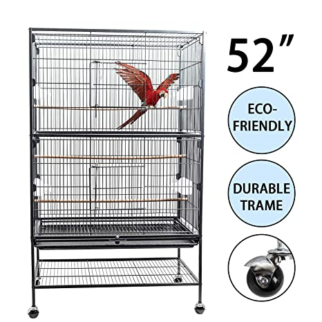 D4P Display4top Hierro Forjado Grande Negro Jaula para Pájaros Jaula de Aves para cacatúa, Loro, Canario, 131 x 52 x 79 cm