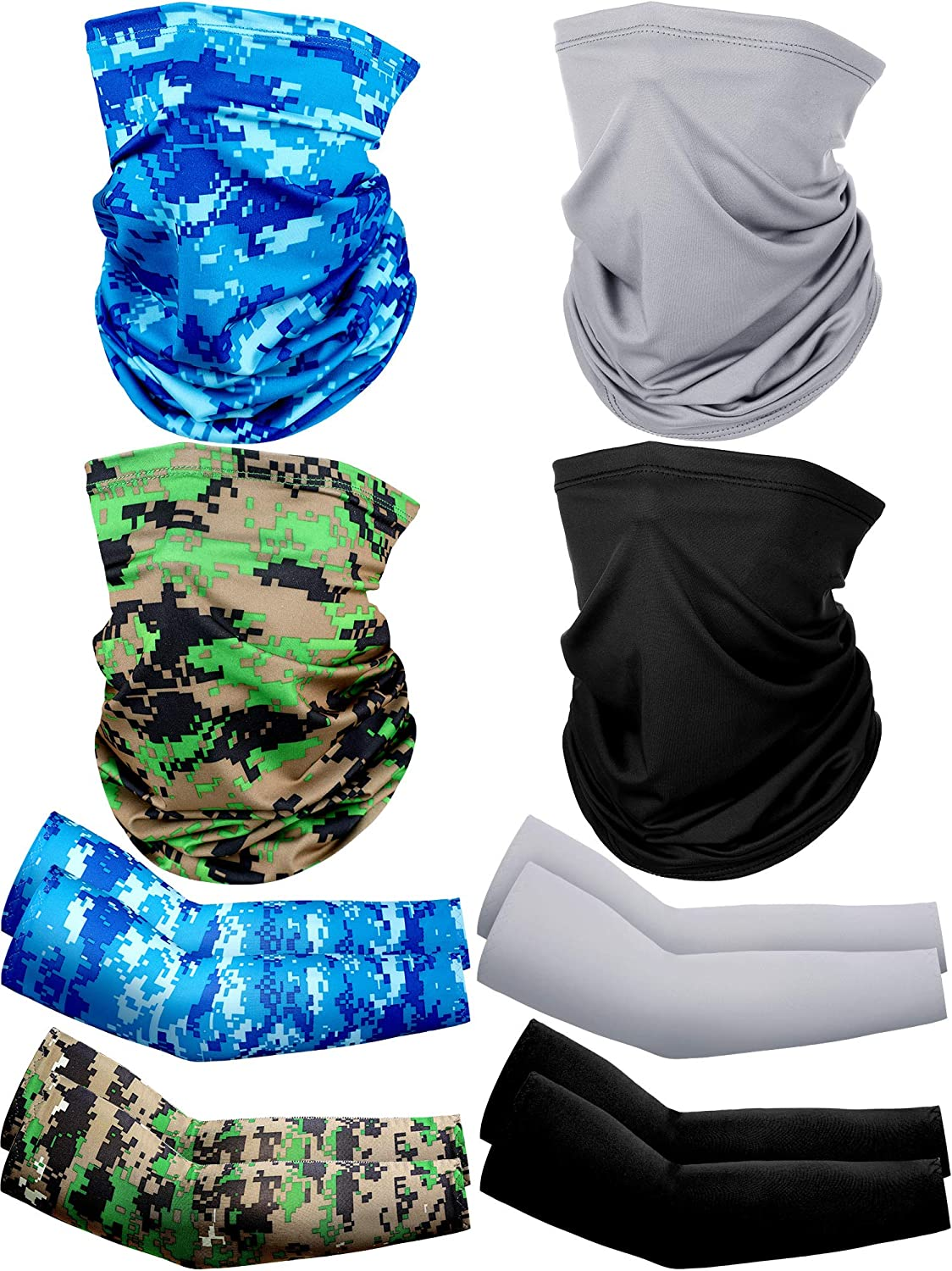 8 Pack Summer UV Protection Face Cover Neck Gaiter Scarf and Ice Silk Cooling Arm Sleeves(Black, Grey, Camouflage)