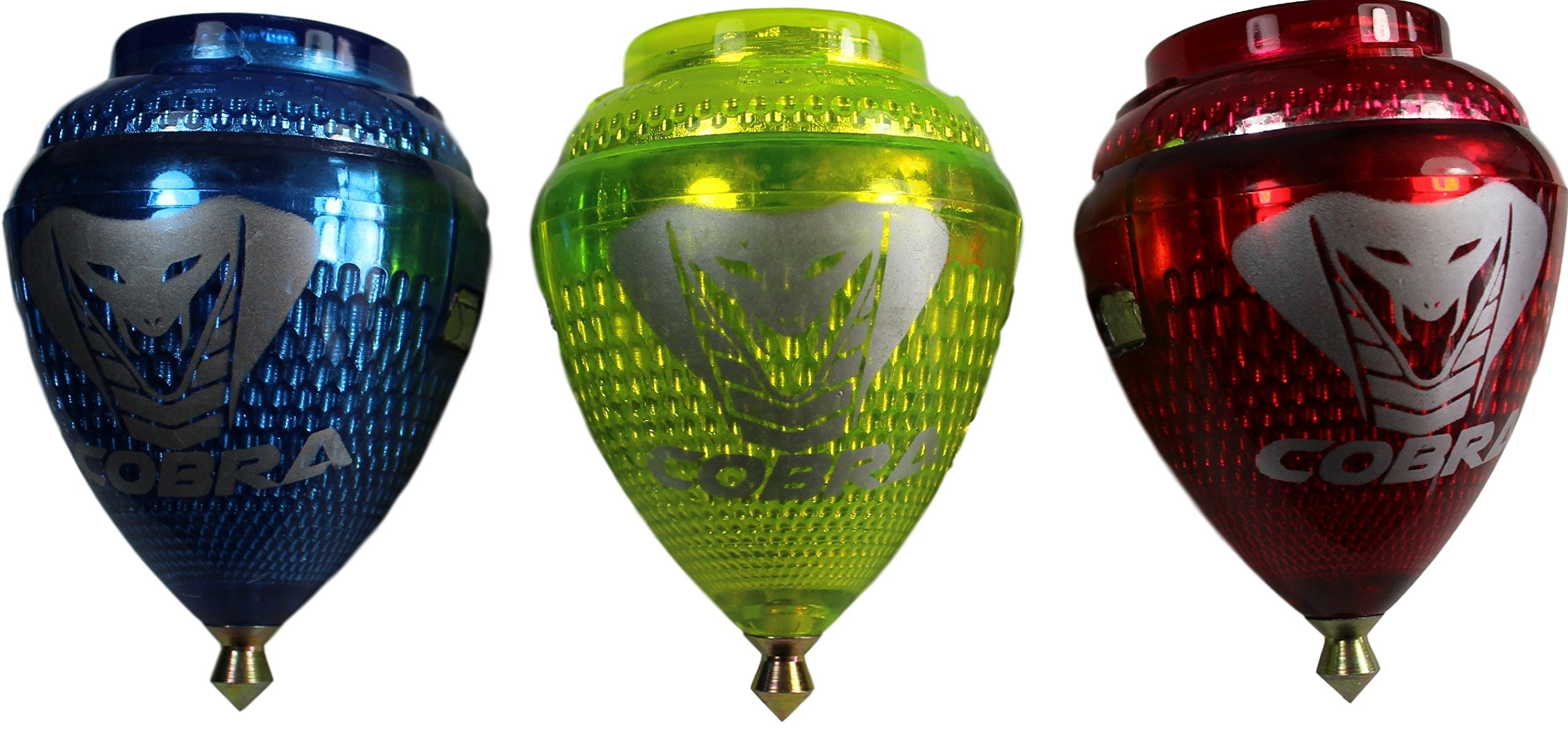 3 Pack Cobra Durable Plastic Spin Tops & Metal Tip Made in Mexico - Trompo Mexicano Modelo Cobra Plástico Durable & Punta de Metal (Pack of 3 Assorted Colors)