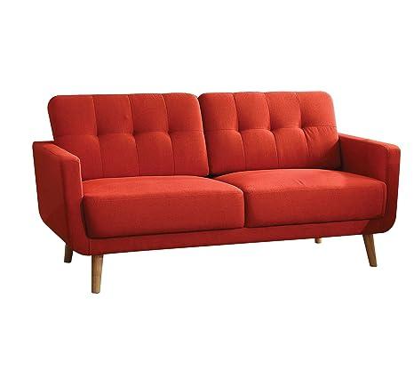 ACME Sisilla Red Linen Sofa