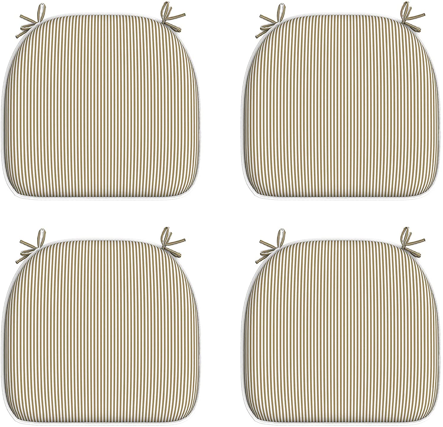 """LVTXIII Indoor/Outdoor Seat Cushions, Patio Chair Pads with Ties for Home Office and Patio Garden Furniture Decoration 16""""x17"""", Stripe Beige, Set of 4"""
