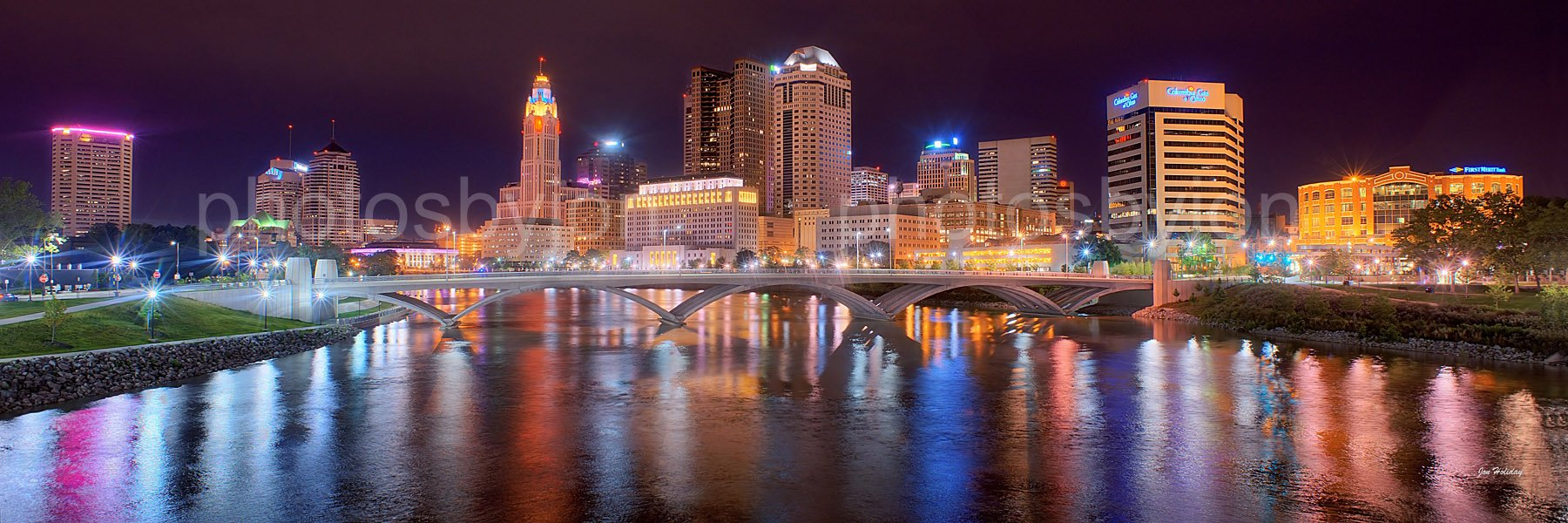 Columbus Skyline PHOTO PRINT UNFRAMED NIGHT Color City Downtown 11.75 inches x 36 inches Ohio Photographic Panorama Poster Picture Standard Size by photosbyjon