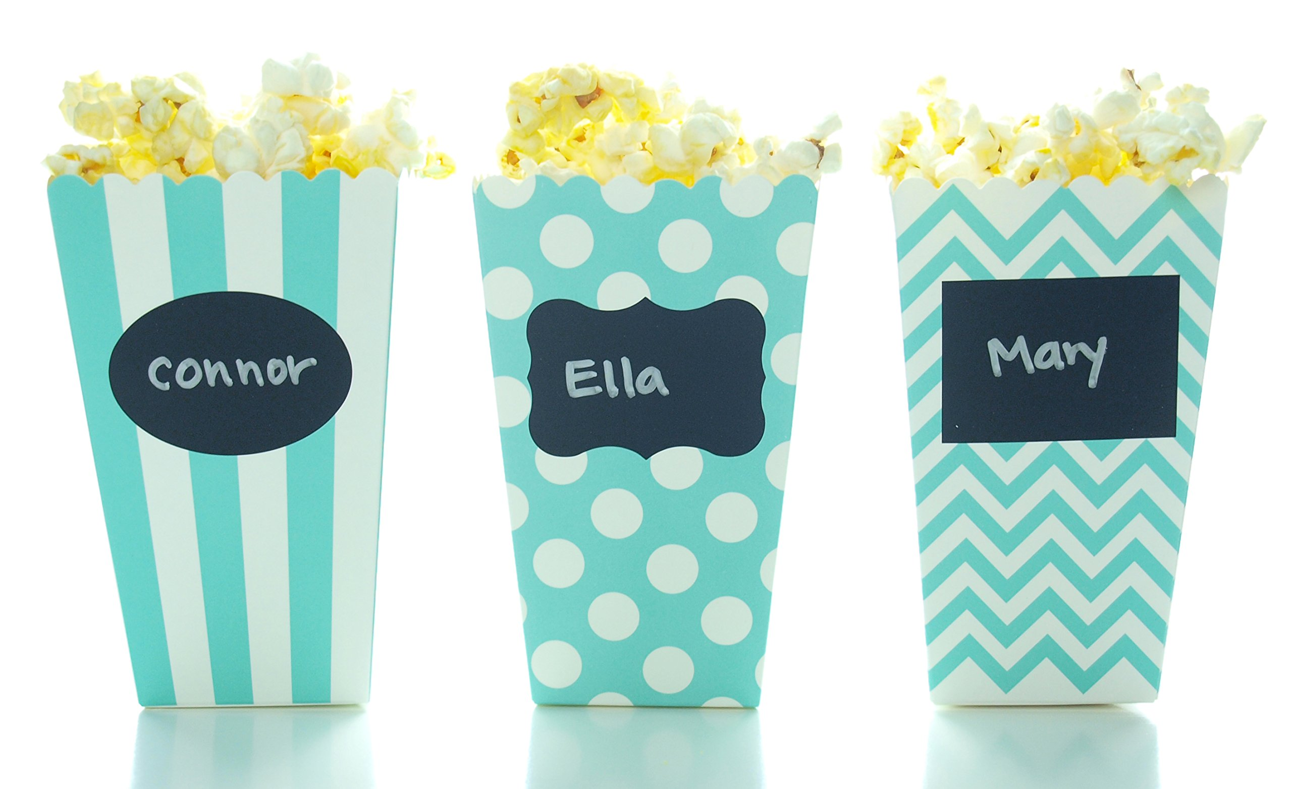 Aqua Blue Green Popcorn Boxes & Black Label Chalkboard Vinyl Stickers (36 Pack) - Party Favors & Wedding Candy Boxes, Use Decal Tag to Customize Party Favors, Small Popcorn Tub