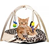 B Bascolor Cat Play Mat Bed with 4 Hanging Toys Bell Balls Crinkle Toy for Cats Kitten