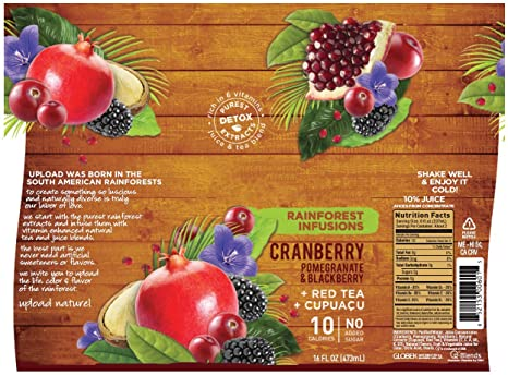 UPLOAD Cranberry Pomegranate Blackberry +Cupuaçu +Red Tea, Rainforest  Infusions, 16 Fl  Oz