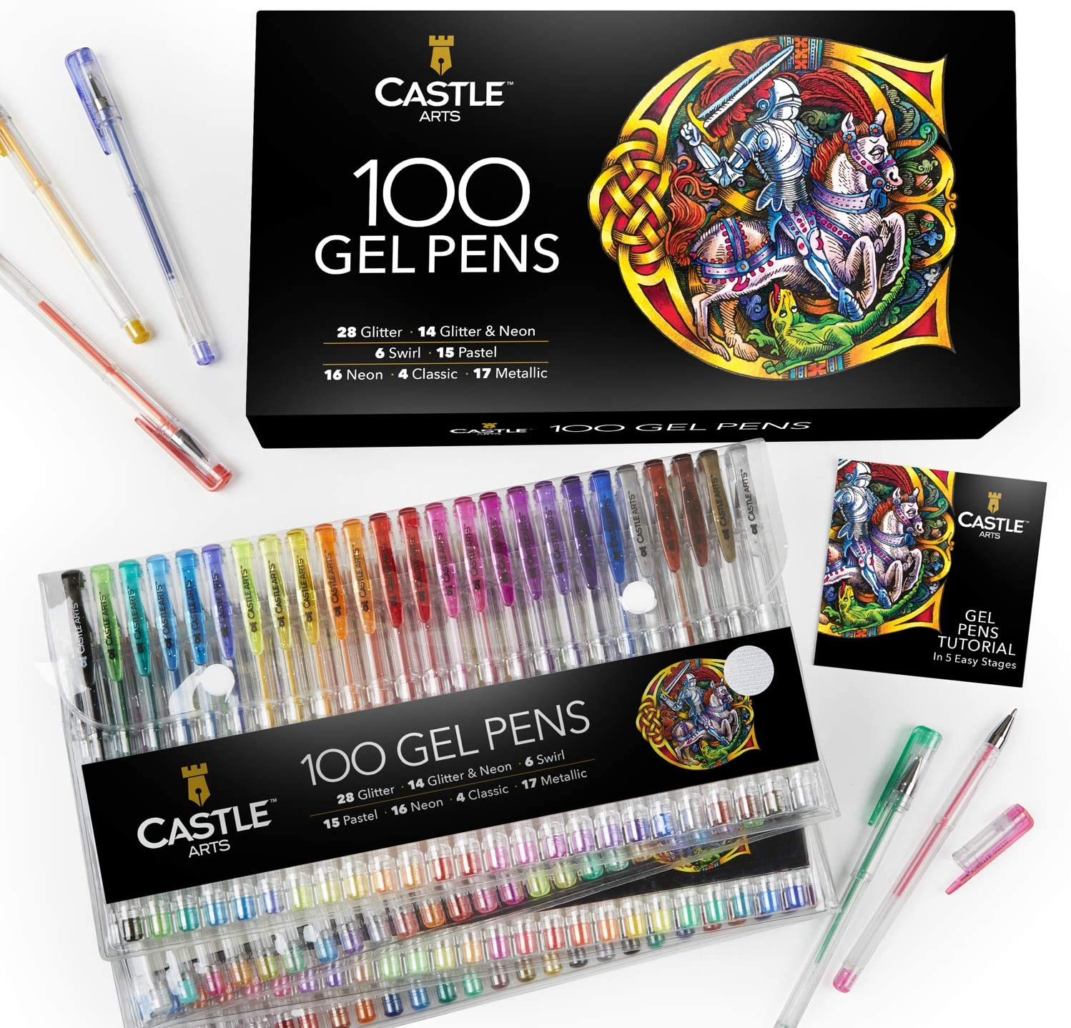 Castle Art Supplies 100 Gel Pens Set with Case for Adults Kids Artists