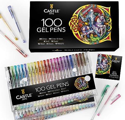 Castle Art Supplies 100 bolígrafos de gel con estuche, para niños y adultos. Libros para colorear, dibujo, scrapbooking, escritura. Kit de puntas finas con remolino, pastel, metálico, brillo y neón.: Amazon.es: Oficina