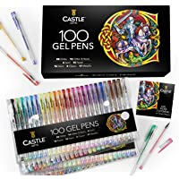 Castle Art Supplies 100 Gel Pen Set with Case for Adult Coloring Books, Drawing, Scrapbooking, Writing - Kit Includes…