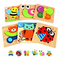 Springflower Wooden Toddler Jigsaw Puzzle Gift Toy for 1 2 3 Years Old Boys and...