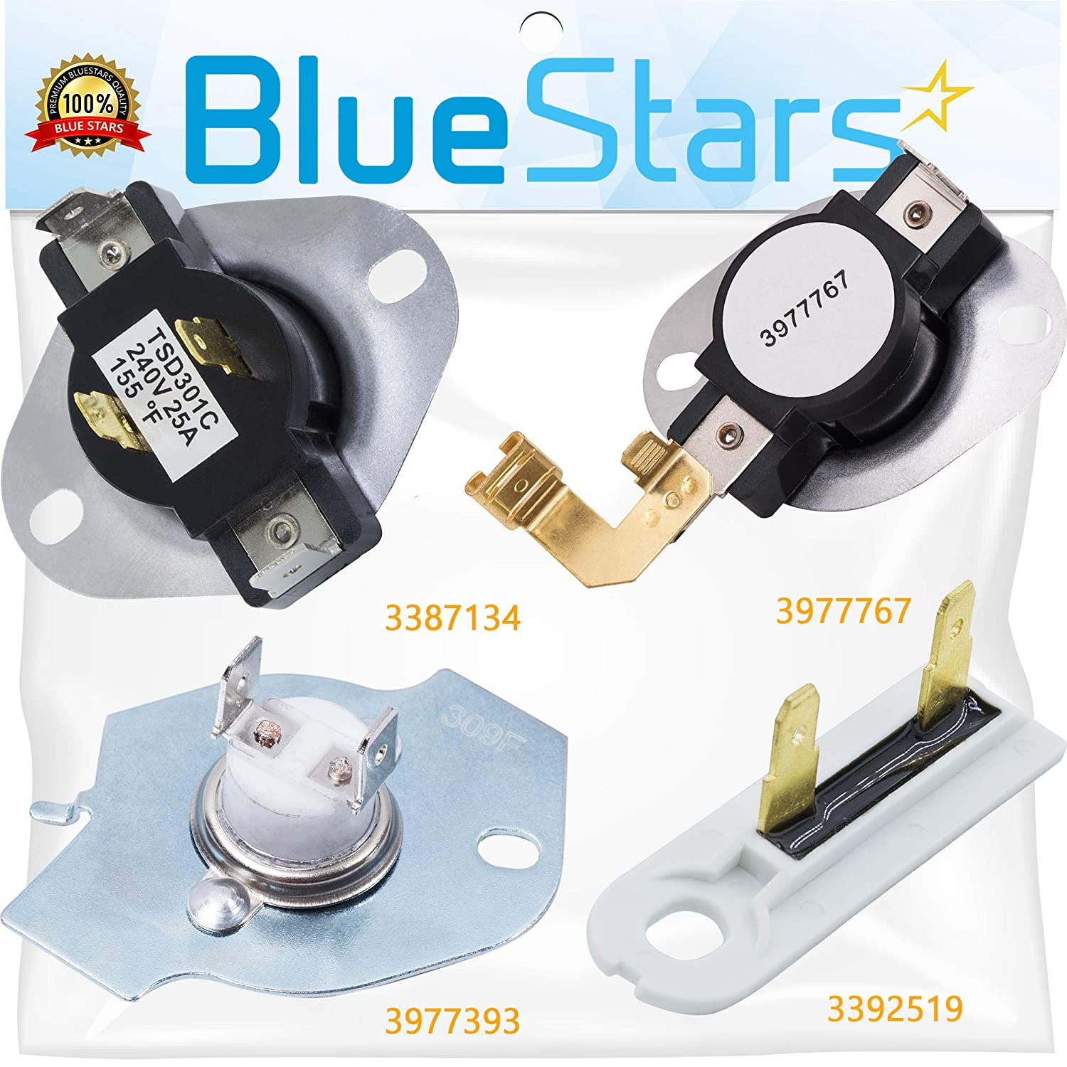 3387134 & 3392519 & 3977767 & 3977393 Dryer Thermostat and Thermal Fuse Kit by Blue Stars - Exact Fit for Whirlpool & Kenmore Dryers