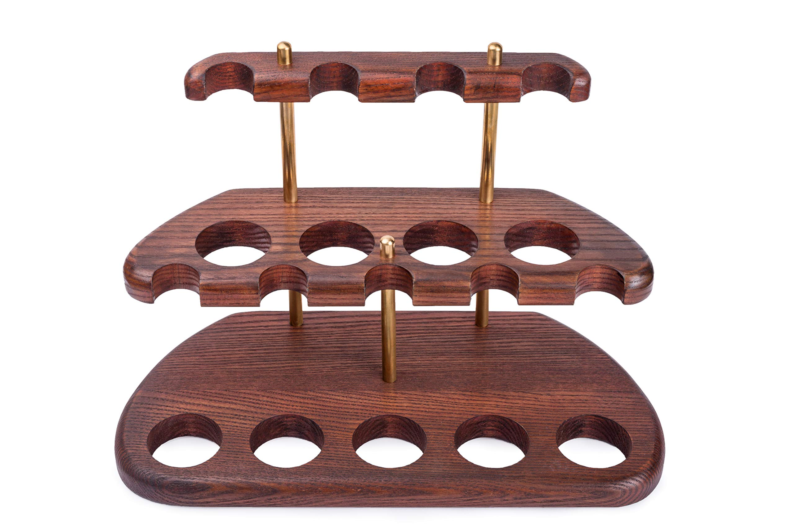 Dr.Watson - 9 Smoking Pipe / Pipes Stand Rack Hold Case Display - Arch IX - Solid wood, Brass by Dr.Watson