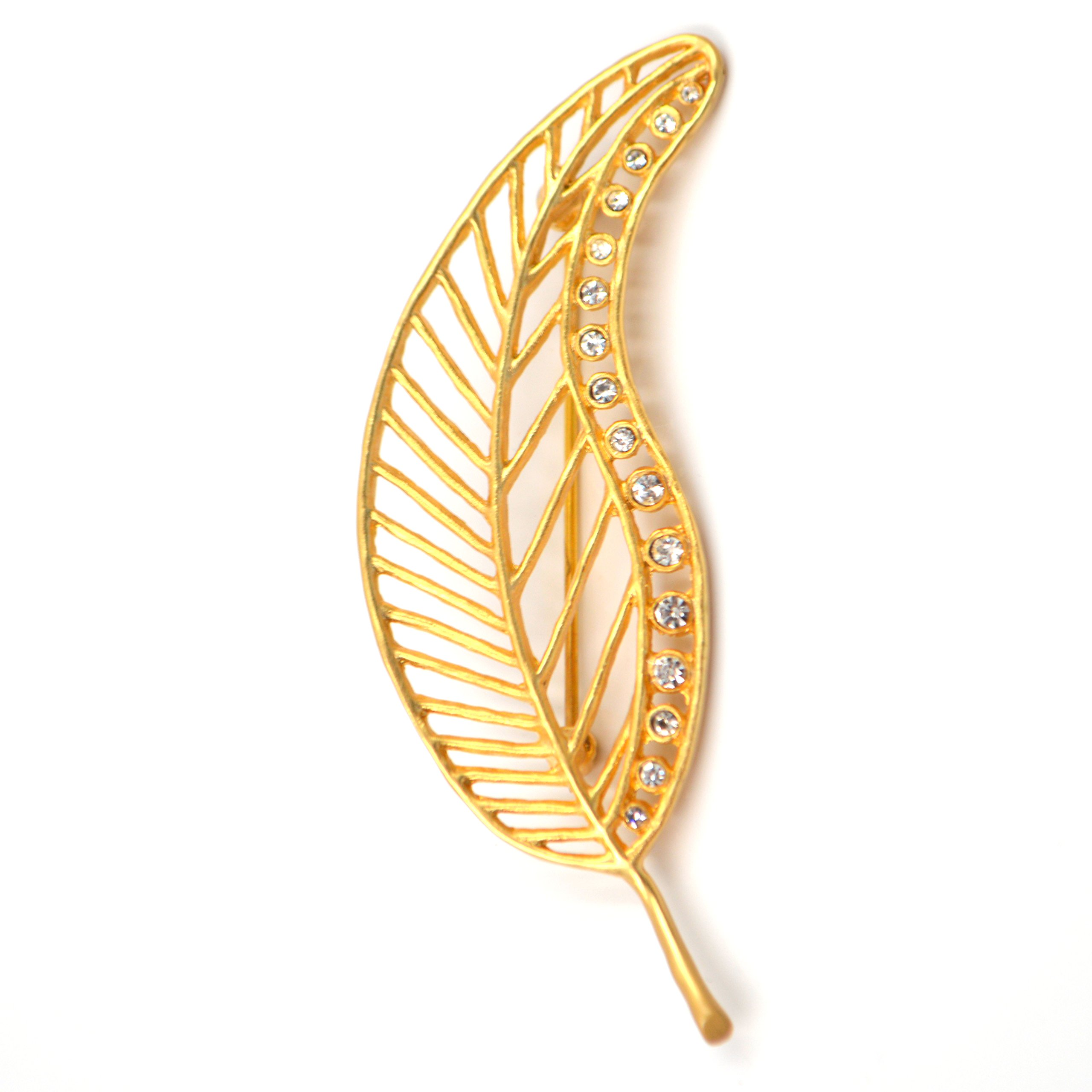Chevron Leaf Pin (24k Gold-Plated with Swarovski Crystals) by Mercedes Shaffer
