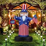 SEASONBLOW 7 Ft Patriotic Independence Day/Flag Day Inflatable Uncle Sam Hold an American Flag Decorations 4th of July Home Yard Outdoor Indoor Decoration