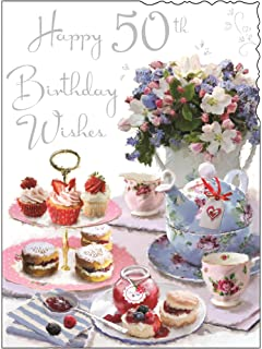 Happy 50th birthday greeting card for her ladies womens friend greeting card jj4047 female 50th birthday afternoon tea and flowers foil embossed m4hsunfo