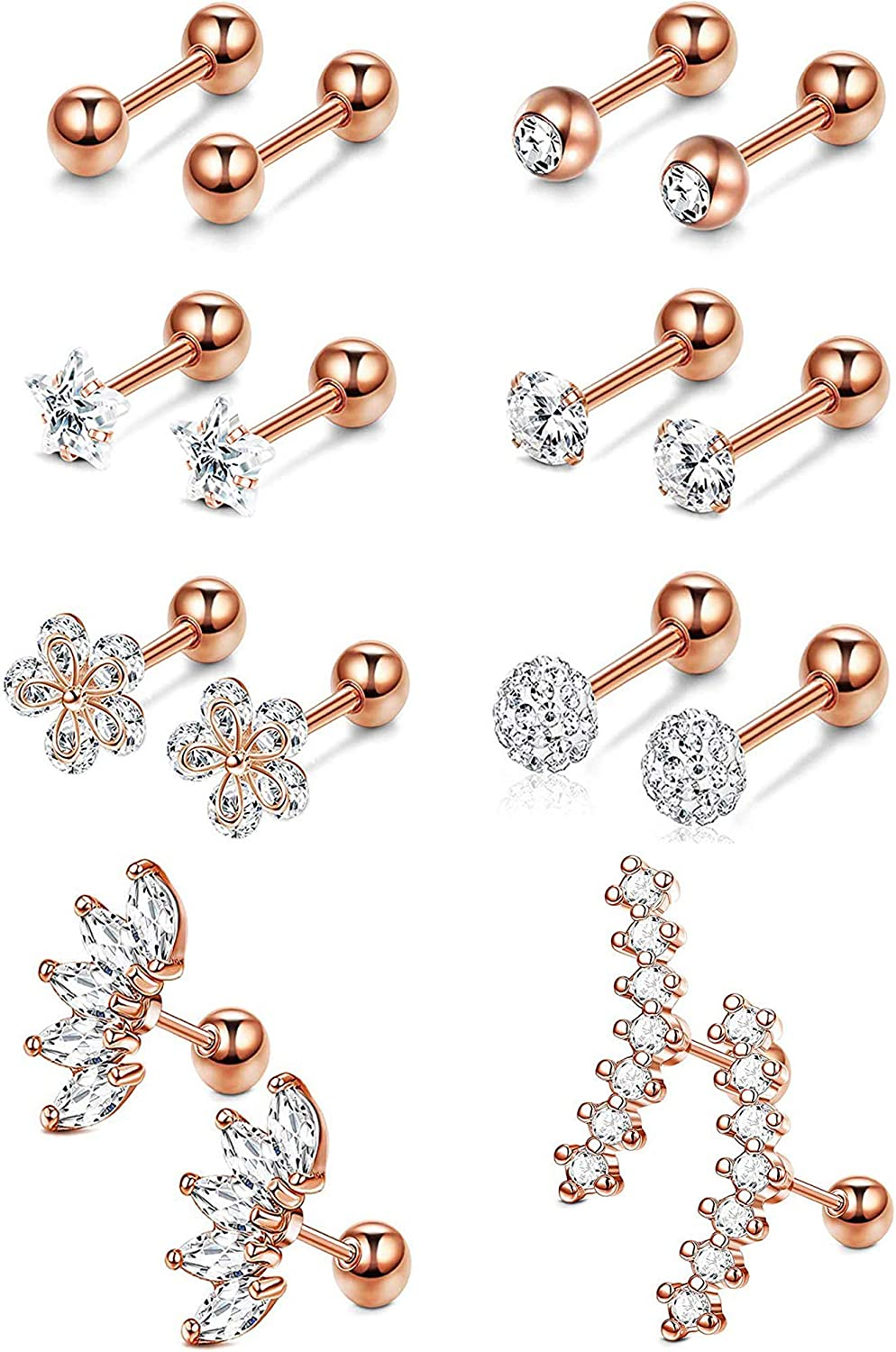 YADOCA 8 Pairs Stainless Steel Ear Cartilage Piercing Earrings Helix Tragus Barbell for Women Men Moon Star Flower CZ Stackable Cartilage Earrings Set Silver-tone Rose Gold-tone Gold-tone
