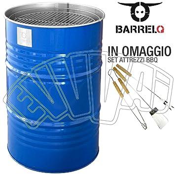 BarrelQ Big Blue - Barbacoa barril de petróleo BBQ Brasero mesa jardín: Amazon.es: Bricolaje y herramientas