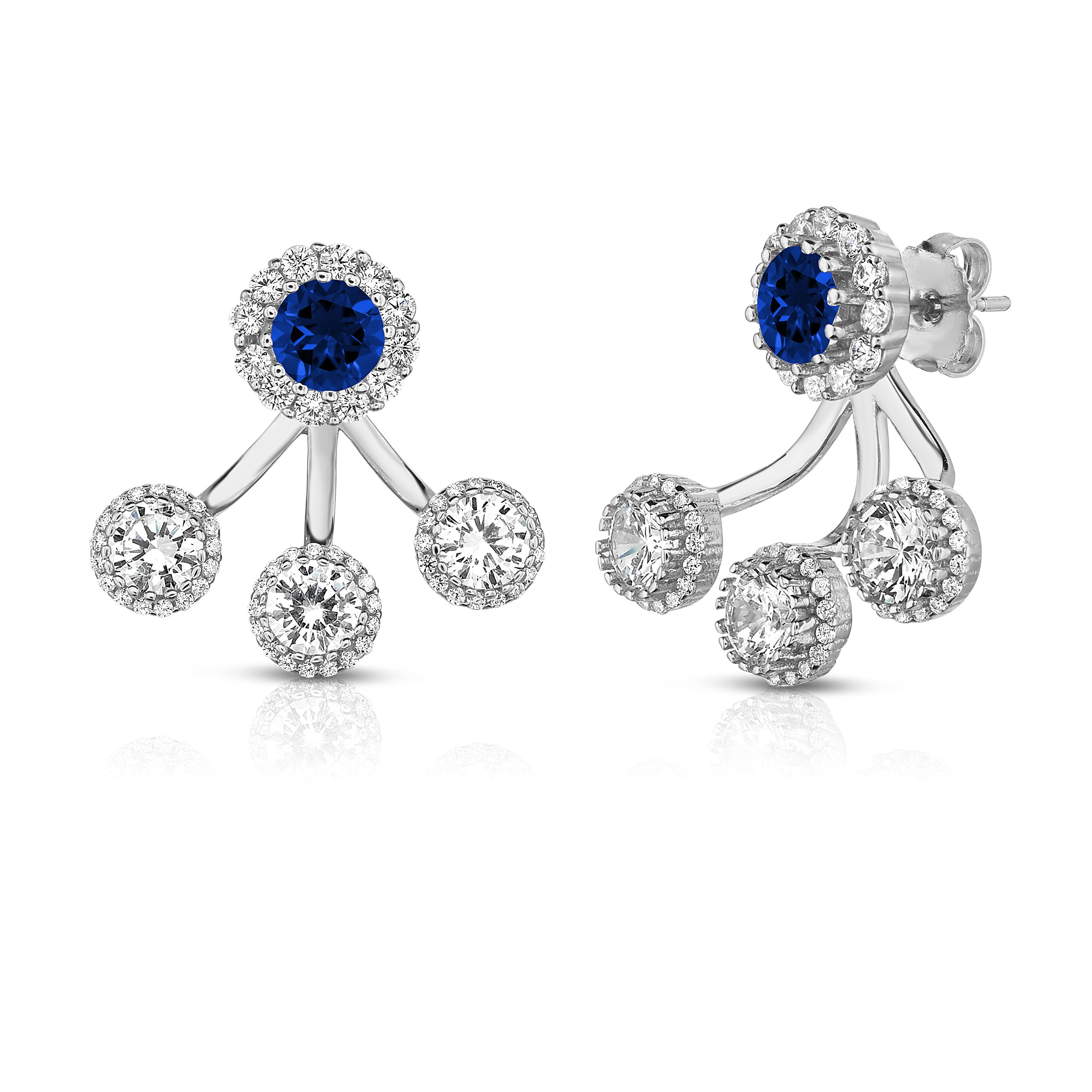 Sterling Silver Front Back 2 in 1 Cubic Zirconia and Created Sapphire Halo Earrings and Ear Jacket Cuff Set. (Natural Silver)