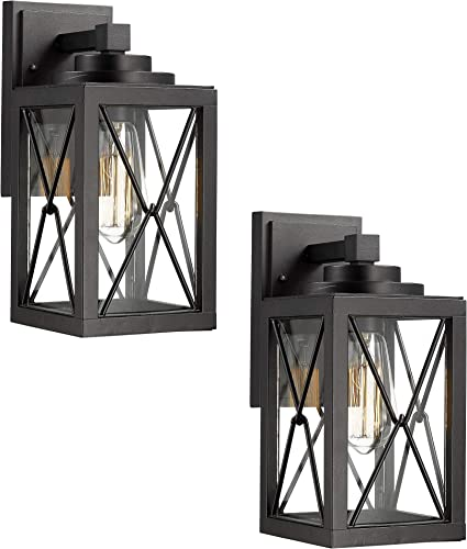 Emliviar Porch Lights 2 Pack, Black Outdoor Wall Lanterns Sconces with Clear Glass Shade, 0387BK-2PK