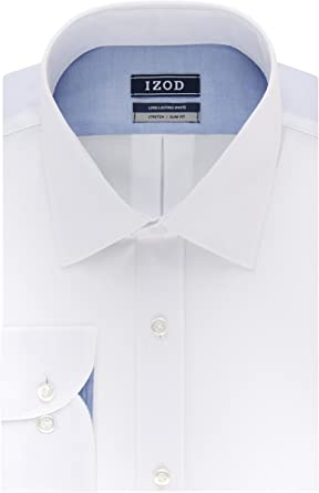 IZOD Mens Dress Shirt Slim Fit Stretch Solid, White, 18 ...
