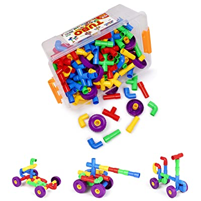 PlayBuild Tubular Spout Construction Building Blocks, Constructor Toy, Fun Educational Building Construction Toys with Wheels and Easy Storage Plastic Container.: Toys & Games