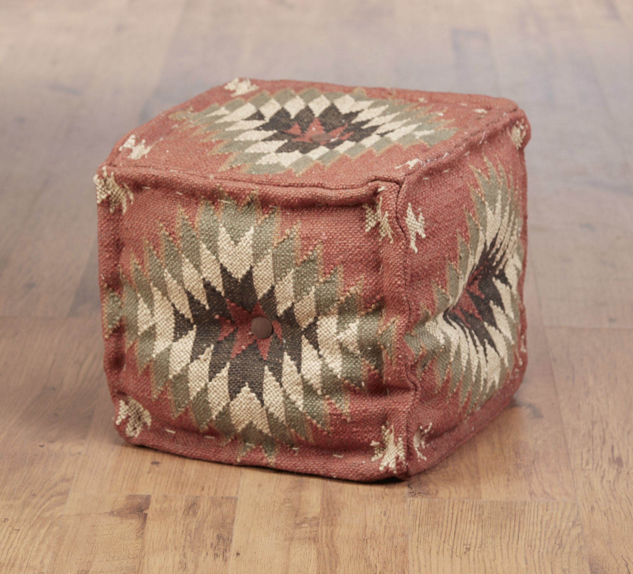 Wool Ottomans Aa Importing 48849 Square Kilim Pouf 16 X 17 X 17 Inches Multicolored Model # 48849