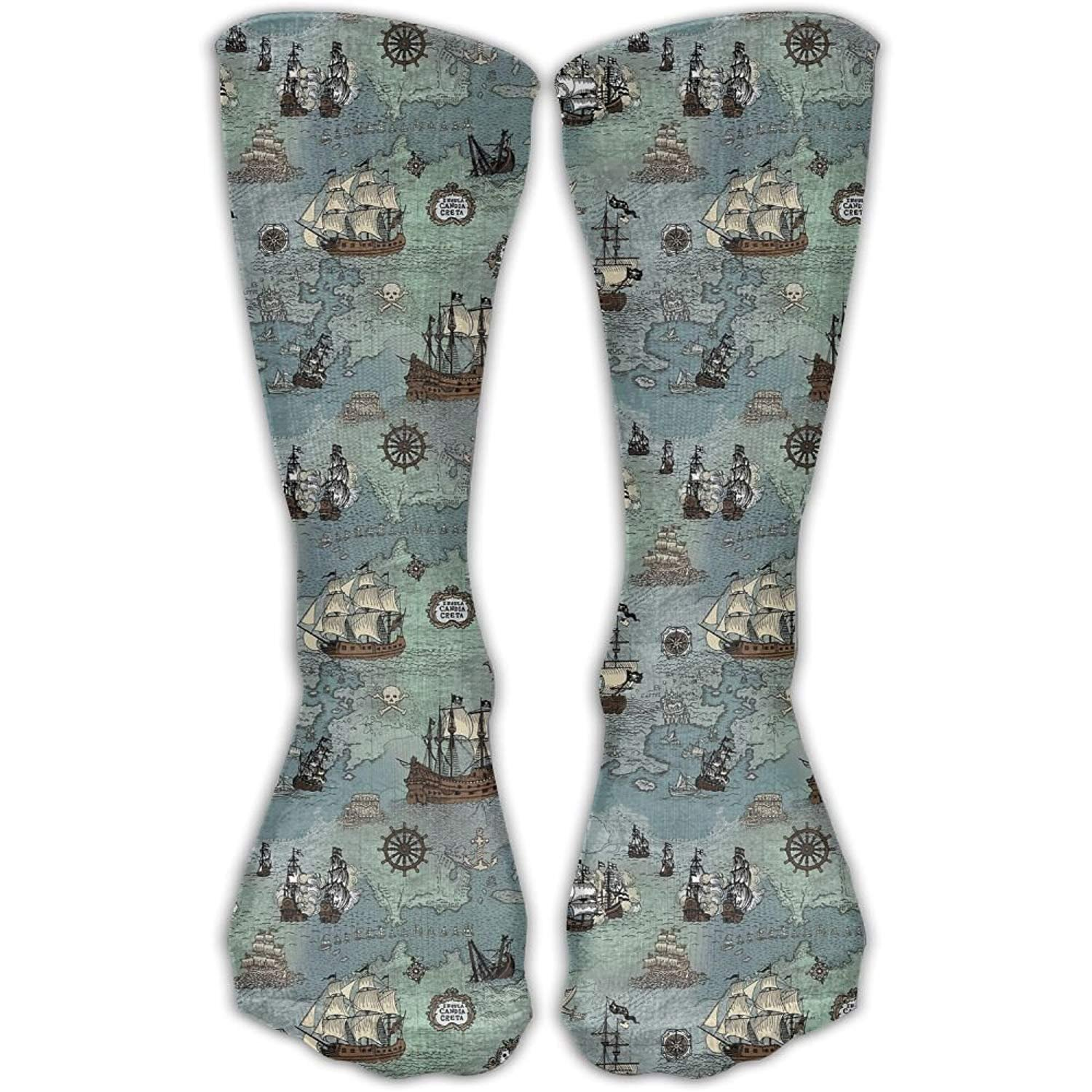 UYTGYUHIOJ Men Women Novelty Pirate Ship Map Classic High Sock Athletic Team Stocking Unisex