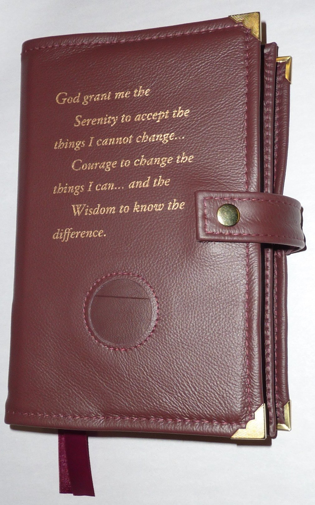 Burgundy Leather Double AA Alcoholics Anonymous Big Book & 12 Steps and 12 Traditions Book Cover Serenity Prayer and Medallion Holder