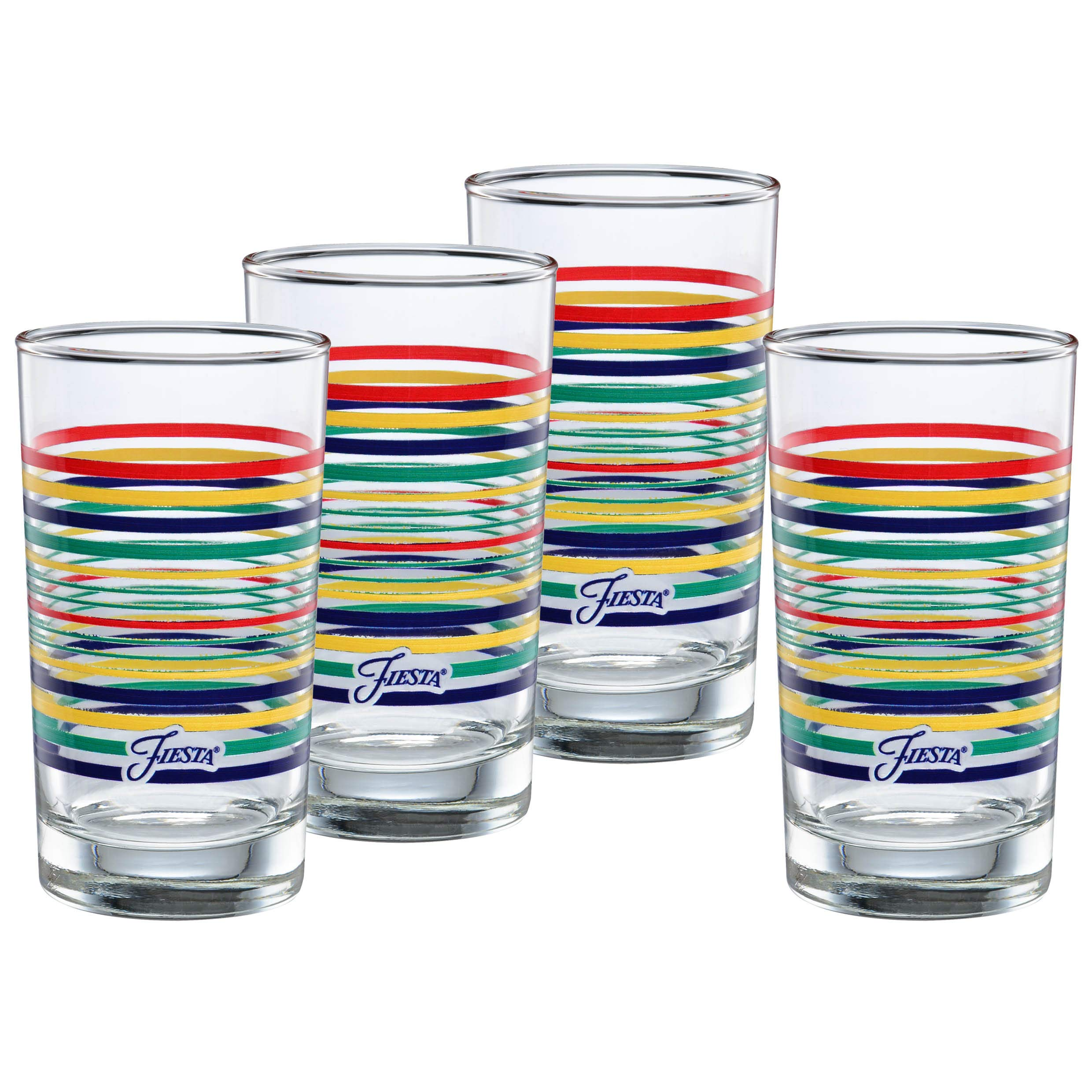 Officially Licensed Fiesta Stripes 7-Ounce Juice Glass (Set of 4) (Cobalt Collection)