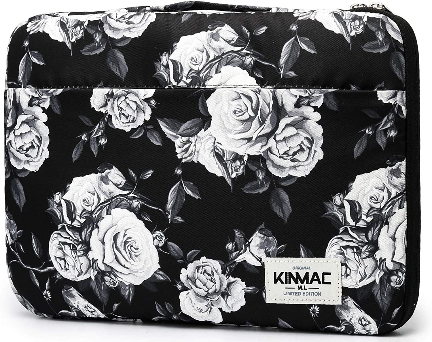 Kinmac 360° Protective 13 inch-13.9 inch Waterproof Laptop Case Bag Sleeve with Handle for 13.3 inch 13.5 inch and 13.9 inch Laptop (White Rose)
