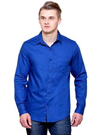 b4b1baffe4 JScottwitchy Men s Pure Cotton Casual Semi Formal Slim Fit Royal Blue Shirt  ...