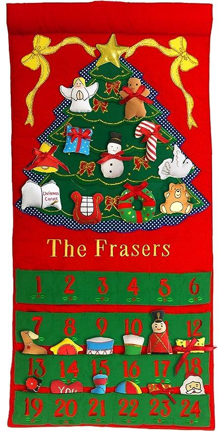 Personalized Christmas Decor.Pockets Of Learning Personalized Christmas Tree Advent Calendar Holiday Decor Seasonal Fabric Wall Hanging Cloth Countdown