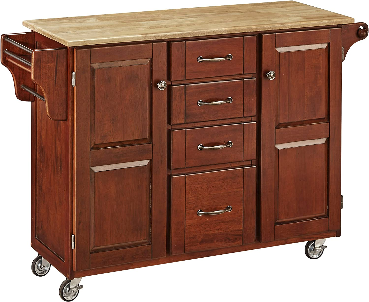 Create-a-Cart Medium Cherry 2 Door Cabinet Kitchen Cart with Natural Wood Top by Home Styles