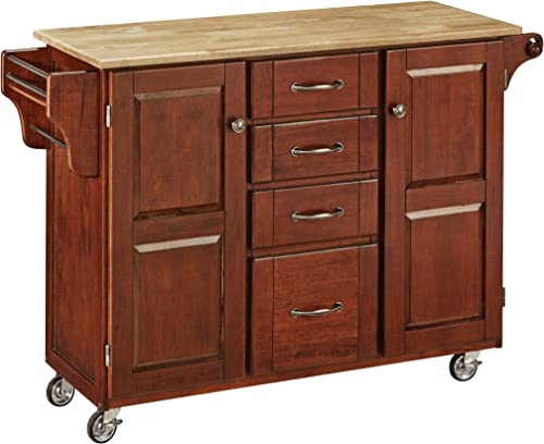 Home Styles Mobile Create-a-Cart Cherry Finish Two Door Cabinet Kitchen Cart