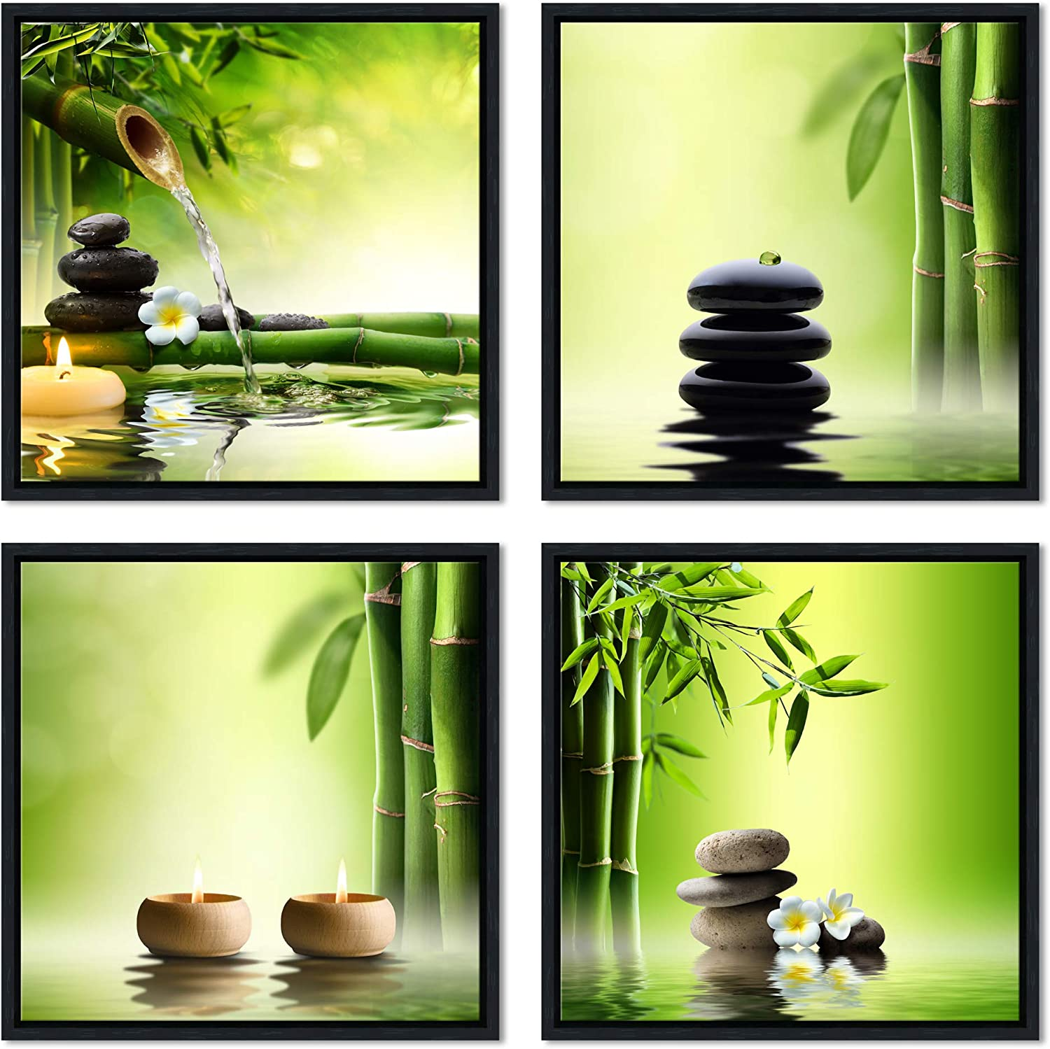 Pyradecor Modern 4 Panels Framed Contemporary Zen Giclee Canvas Prints Perfect Bamboo Green Pictures Paintings on Canvas Wall Art for Home Office Decorations Living Room Bedroon