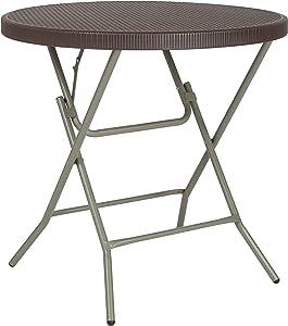 Flash Furniture 31.5'' Round Brown Rattan Plastic Folding Table