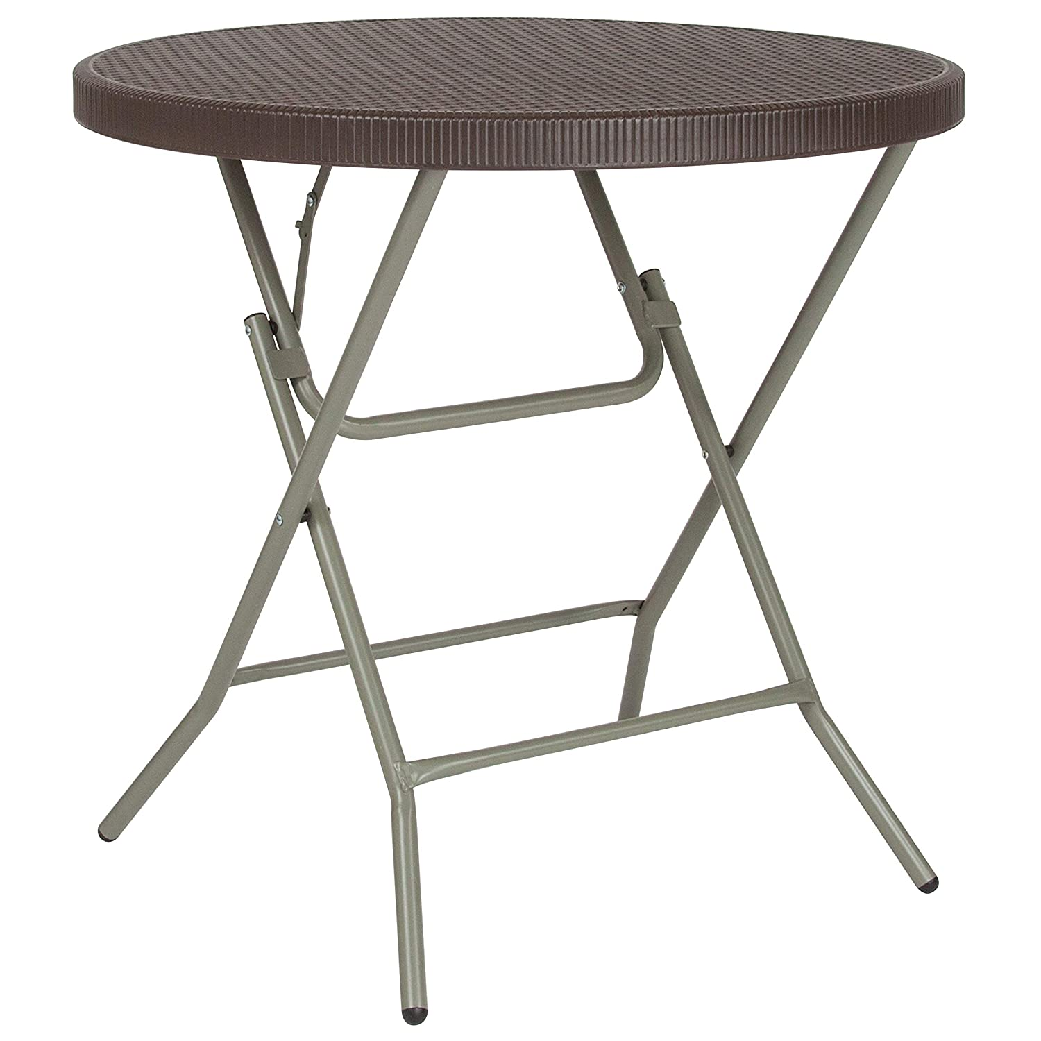 Flash Furniture 31.5 Round Brown Rattan Plastic Folding Table