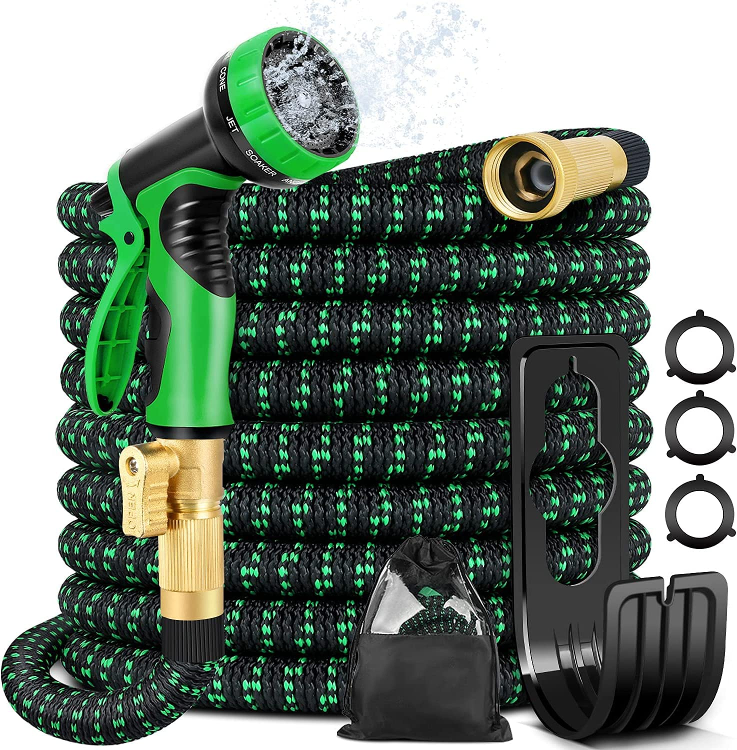 75ft Expandable Garden Hose - Flexible Water Hose with 10 Function Nozzle, 3/4 Solid Brass and Extra Strength 3750D Durable, Leakproof Lightweight Hose for Watering Flowers, Lawn, Cleaning