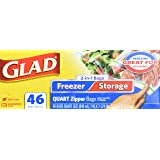 Glad Food Storage and Freezer 2 in 1 Zipper Bags - Quart - 138 count