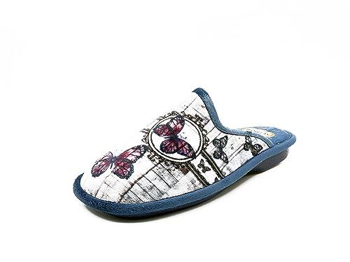 Zapatilla mujer de andar por casa marca BIORELAX, suapel color gris/marino, adorno