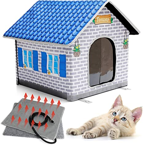 Toozey Heated Cat House For Winter Indoor Outdoor Cat House Weatherproof With Heated Cat Bed Providing Safe Feral Cat House For Cats Or Small Dog Easy To Assemble Cat Shelter