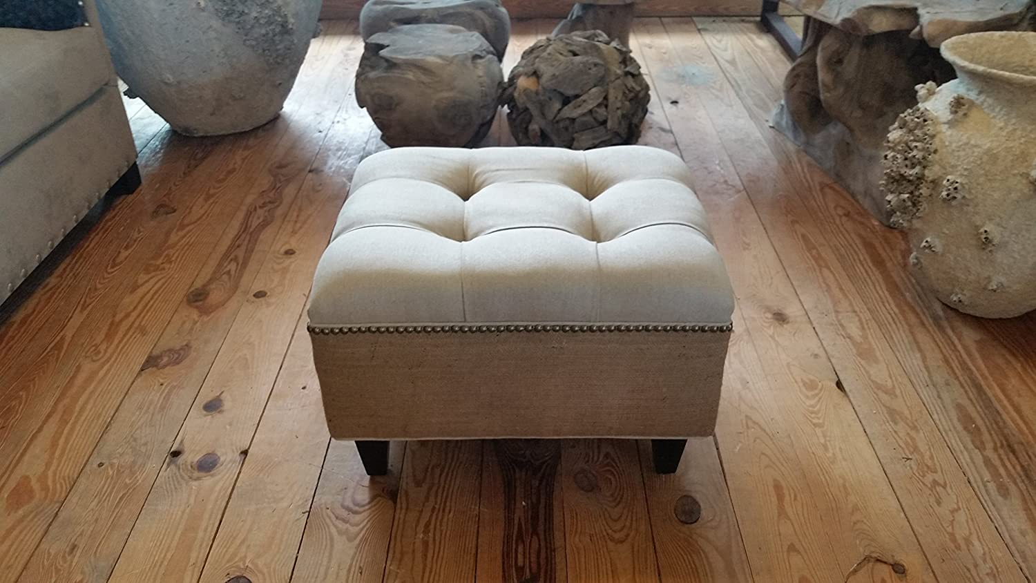 Amazon.com: Linen and Burlap Tufted Upholstered Ottoman With Nail Head~  Design 59 inc.: Handmade - Amazon.com: Linen And Burlap Tufted Upholstered Ottoman With Nail